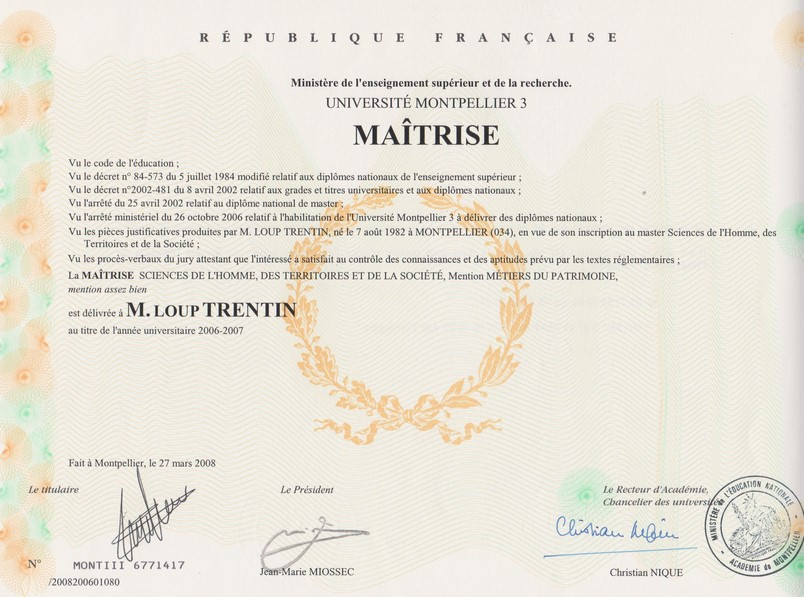 diplome universitaire montpellier 3