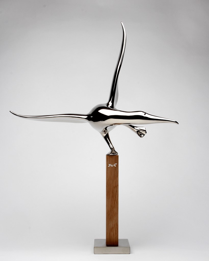 bernard rives, oiseau, albatros, sculpture chrome