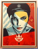 oil lotus woman, obey, shepard fairey